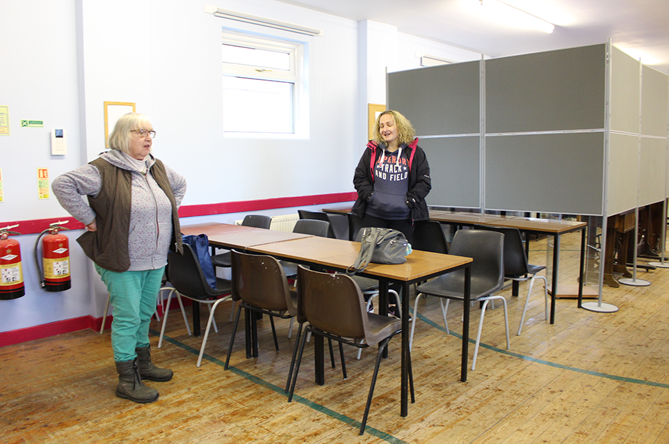 Hard-working volunteers wondering why they can't get a well-earned cup of tea in our new café area.